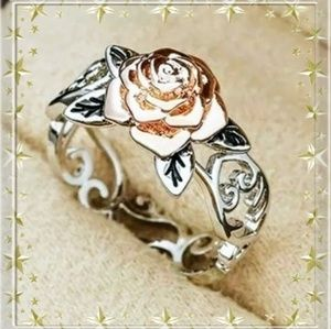 Gorgeous 925 silver and rose gold ring